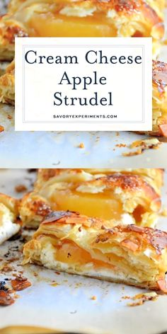 Cream Cheese Apple Strudel Pastry isn't as challenging as you might think! My Easy Apple Cream Cheese Strudel uses only 6 ingredients and 10 minutes to prepare for a fancy-pants breakfast or de Strudel Recipes, Puff Pastry Recipes, Phyllo Dough Recipes, Puff Pastry Desserts, Pastries Recipes, Rolls Recipe, Homemade White Cakes, Health Desserts, Pastries