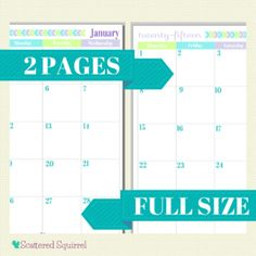 Really Like the color scheme Free Printable 2015 Full Size Calendar with 2 Pages per month. | ScatteredSquirrel.com