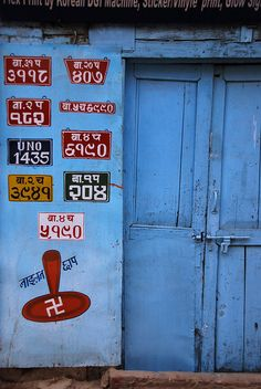 A door in Nepal Old Doors, Windows And Doors, Door Knockers, Doorway, Shades Of Blue, World, Buddha Wisdom, India Art, Throat Chakra