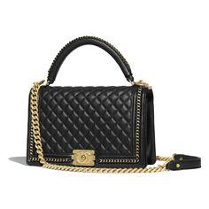 cca3c9528bc2 BOY CHANEL Flap Bag with Handle - Black - Calfskin & Gold-Tone Metal