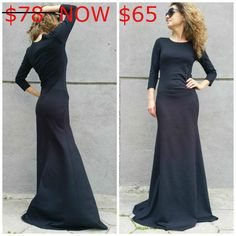 Black Long Sleeve Maxi Dress Casual Elegant Evening Dress, Sexy Women Party Dress / MD 10035