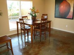 How to stain concrete, stained concrete flooring ideas and design. Photos and info on application of acid etched staining, stain techniques, sealing and maintenance of stained concrete floors. Acid Stained Concrete, Painted Concrete Floors, Painting Concrete, Concrete Wall, Decorative Concrete, Concrete Staining, Concrete Kitchen, Poured Concrete, Basement Flooring