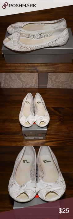 """Report White Lace Flats Only worn once! Report white lace """"Cassie"""" open-toed flats with bow. Excellent condition! Original box included. Smoke free home. Report Shoes Flats & Loafers"""