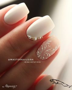 35 Simple Ideas for Wedding Nails Design 1 Nail Art Designs, Nail Designs Pictures, Winter Nail Designs, Simple Wedding Nails, Wedding Nails For Bride, Wedding Nails Design, Bridal Nail Art, Bride Nails, Pin On