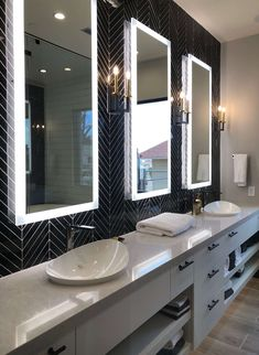 Long vanity with tile wall and floating lit mirrors in The New American Remodel. Mirrors, Upstairs Bathrooms, Master Bathroom, Glass Shower Enclosures, Contemporary Cabinets, Large Shower, Mirrored Furniture, Indoor Outdoor Living
