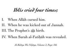The four time Iblis (satan) cried