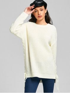 Lace-up Chunky Tunic Sweater - OFF-WHITE ONE SIZE