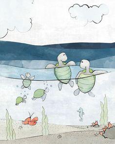 Turtle Nursery Art Print - Nautical Nursery, Kids Room Decor, Sea Turtles Illustration, Baby Shower Gift, Children's Art, Navy Green Coral