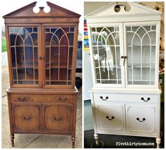 a beautiful before and after using Miss Mustard Seed's Milk Paint in Marzipan