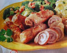 Receitas - Rolinhos de perú com puré de batata, azeitonas  bróculos - Petiscos.com