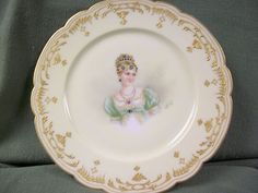 French Porcelain Hand Painted Portrait of Pauline Bonaparte Plate