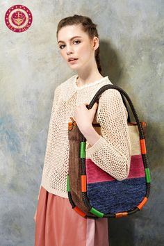 Womens Vintage Casual Colorful Leather Woven Bags  elfsacks