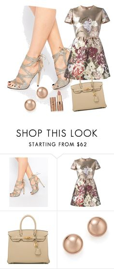 """Metallic dresse"" by olino-alaoui ❤ liked on Polyvore featuring True Decadence, Valentino, Hermès, Bloomingdale's and tarte"