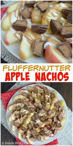 Chocolate, marshmallow, and peanut butter make these Fluffernutter Apple Nachos the best snack. (Apple Butter Appetizer)