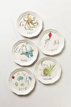 Calligrapher Canape Plates - there's a letter for everyone!