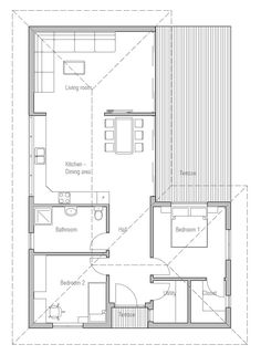Affordable home plan to narrow lot with two bedrooms, open plan, vaulted ceiling in the living area, big windows. Modern House Plan to Modern Family. Open House Plans, House Floor Plans, 2 Bedroom House Plans, Small House Design, Prefab Homes, Construction, Design Case, Building A House, How To Plan