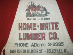 Vintage Home Brite Lumber Co Belleville Illinois IL Cloth Nail Apron Useable | eBay