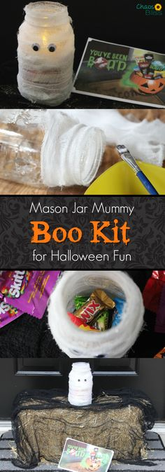 Here's an easy Mason jar craft for Halloween, making a BOO Kit for neighborhood fun! You can find all the supplies at @walmart! #ad #BOOItForward #CollectiveBias