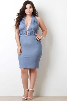 c2a62abc7e5 Halter Chambray Backless Dress. NecklineFashionPlus Size ...