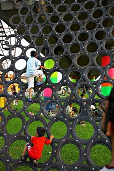 Climbing structure made of recycled tires.