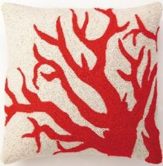 Red Coral on Cream Hook Pillow
