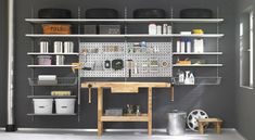 P-Slot shelving systems create order - peg board: double garage by regalraum uk Wall Shelving Systems, Wall Shelves, Slot, Shelf Board, Regal Design, Wall Anchors, Ideas Geniales, Beautiful Color Combinations, Garage Organization