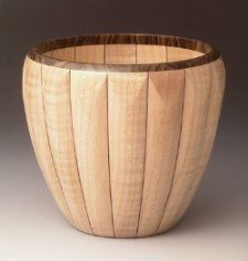Ribbed maple vessel by Malcolm Tibbetts