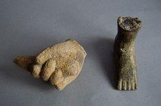 Khmer stone hand and ayutthaya bronze foot