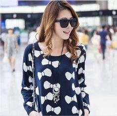 Women's Casual Dark Blue Blouse ♥ http://www.koreastylelove.com/blue-white-spring-2015-trend-korean-spring-fashion/