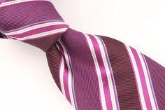 Hugo Boss Purple Silver SKINNY Striped mens Silk Tie #HugoBoss #NeckTie