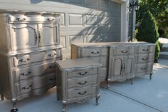 Warm silver metallic dresser color