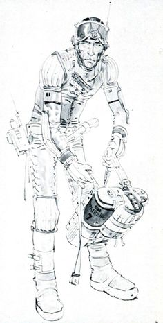Astronaut spacesuit concept art for Ridley Scott's Alien by artist Moebius (2 of 3) // Scanned from Fantastic Films (Blake Publishing Corp./1979)