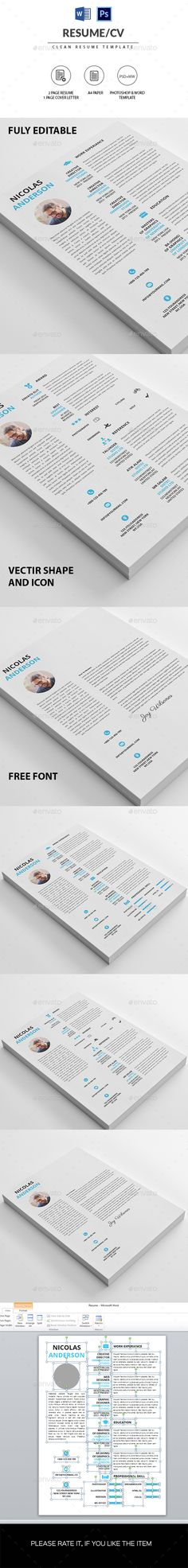Clean Resume / CV Template PSD, MS Word Docx. Download here: http://graphicriver.net/item/clean-resumecv/16126207?ref=ksioks