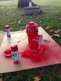 Doggy relief area fire hydrant painted. See earlier pin about PVC fittings used.
