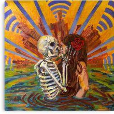 Artist: Meredith Turcotte Fare thee well. Fare thee well. Gi Joe, Grateful Dead Image, Skeleton Art, Skeleton Dance, Dorm Art, Bleach Art, Hippie Art, Skull And Bones, Love You More Than