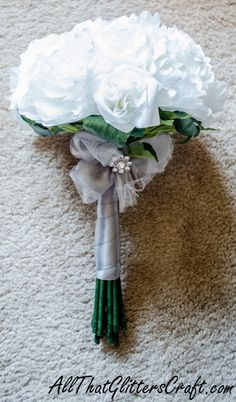All That Glitters Craft: How to Wrap a Fabric/Coffee Filter Flower Bouquet