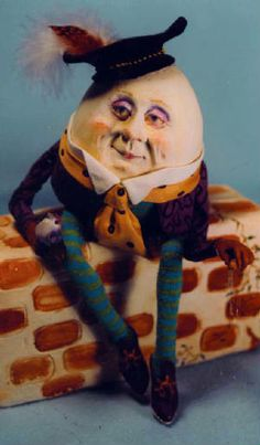 """CECILY HARPER MITCHELL, artist and dreamer - All of my works are conceived in my imagination fashioned from raw materials (Paperclay, copper wire, canvas, batting, old fabric, leather, paint, etc.). My goal with each piece is to depict a human quality through subtle facial expression as well as well as gesture. 6"""" Humpty Dumpty"""