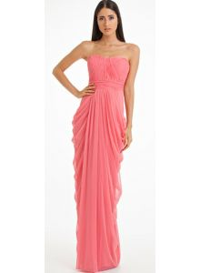 Strapless Draped Jersey Gown
