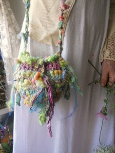 Would be neat as a juju bag- rustic handknit forest fairytale fantasy art bag by beautifulplace Yarn Bag, Weaving Art, Yarn Projects, Knitted Bags, Art Yarn, Needle Felting, Hand Knitting, Fantasy Art, Fairytale