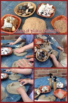 "Exploring the sand dough at Cathy's Childminding ("",)"