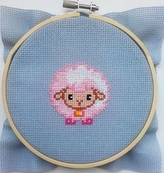 Cross stitch pattern PDF  Cute lamb pink sheep by UAHomeMadeStudio