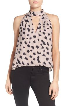 KENDALL + KYLIE Animal Print High Neck Tank