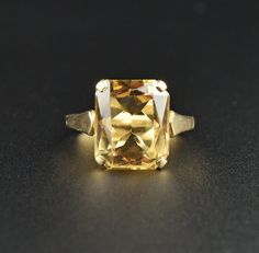 Vintage Gold Retro Citrine Cocktail Ring  #Citrine #Ring #Love #Vintage #intage #Gold #Cocktail #Scottish #Topaz #Ecochic