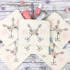 Looking for a useful and unique thank you gift for your bridal party?! Our BRIDE TRIBE makeup bags are the oh so perfect favor that your girls will love and get tons of use out of. A great favor idea for bachelorette parties too!