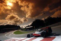 Lewis Hamilton in McLaren Mercedes at 2011 F1 Belgian Grand Prix at Circuit de Spa-Francorchamps.