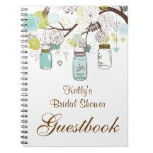 Country Mason Jar Bridal Shower Custom Guest Book Spiral Note Book