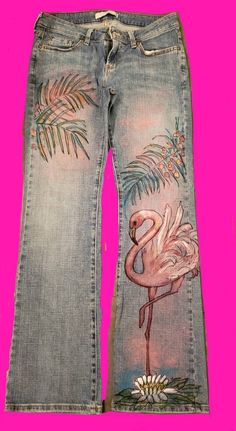 Painted Jeans, Hand Painted, Makeup Tattoos, Levis, Jewelry Crafts, Flamingo, Knit Crochet, Jeans Size, My Etsy Shop