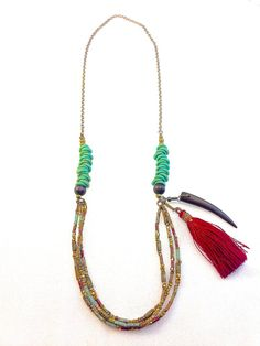 Czech Glass with Pyrite Beads, Silk Metallic Fringe and Wood Necklace - The Langley Collection