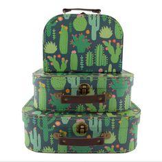 NEW Cactus Decorative Storage Boxes Set of 3 Suitcase Set- Great Price! Deco Cactus, Cactus Decor, Cactus Print, Cactus Diys, Suitcase Set, Suitcase Storage, Decorative Storage Boxes, Decorative Paper, Sass & Belle