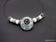 Winter Flowers:Polymer Clay Jewelry, Beaded Necklace, Clay Necklace, Statement Necklace, Handmade Jewelry